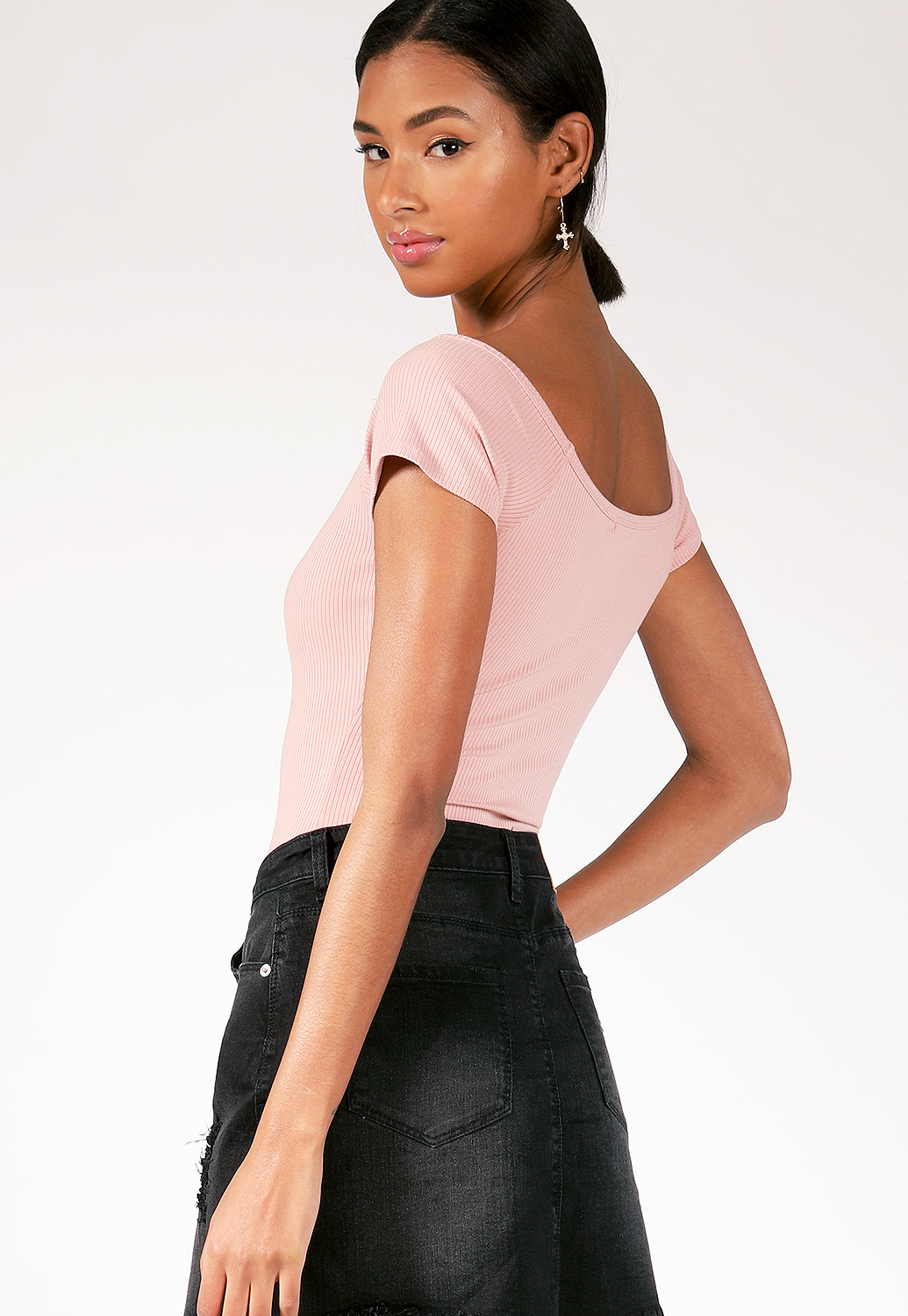 Button Detail Ribbed Bodysuit
