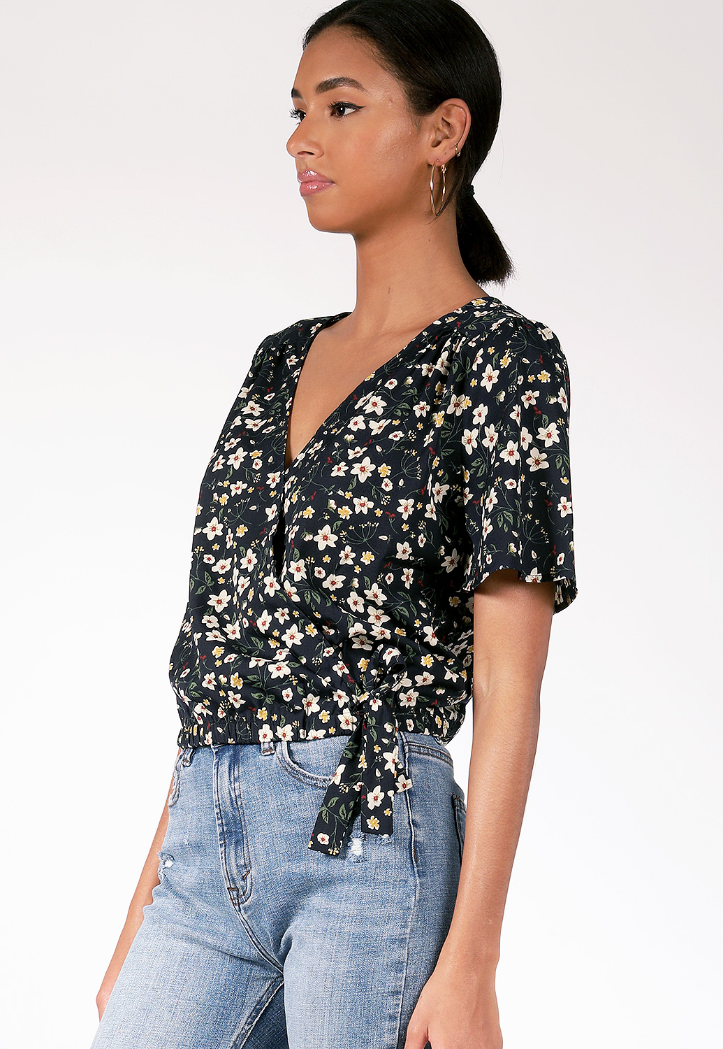 Floral Surplice Top