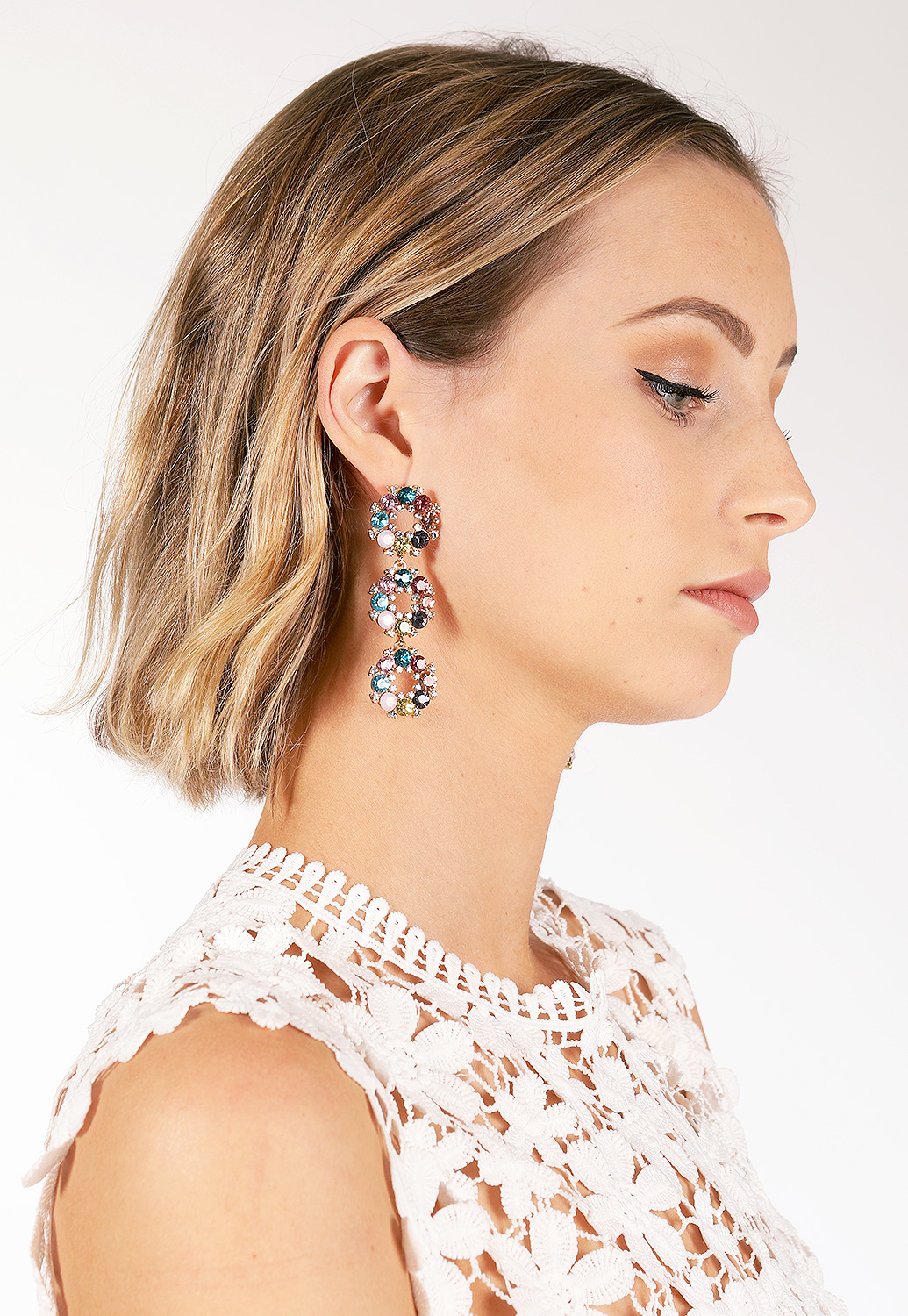 Gem Drop Hoop Earrings