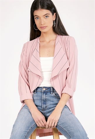 Pinstriped Tie Front Dressy Cardigan
