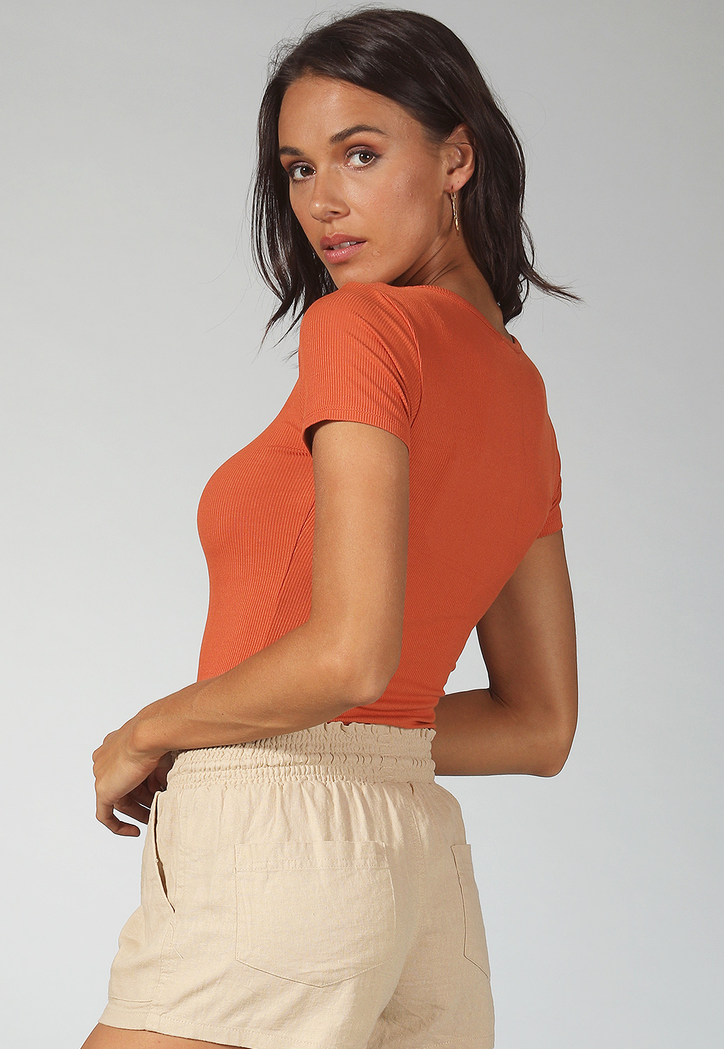 Button Detail Ribbed Top