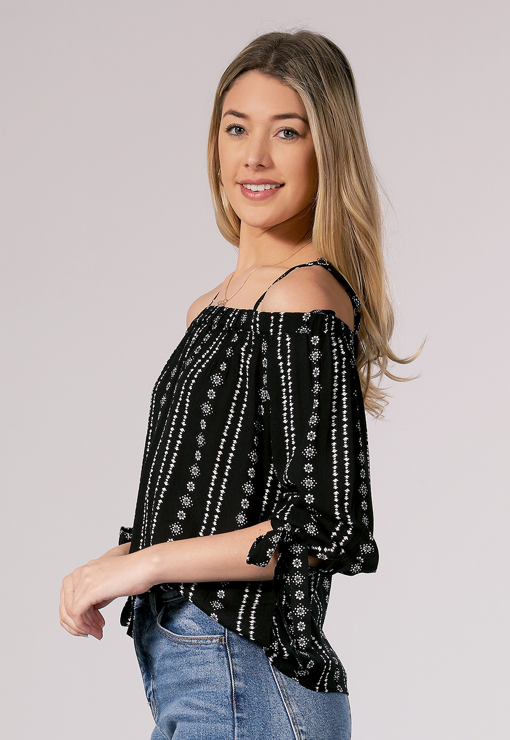 Abstract Print Open Shoulder Top