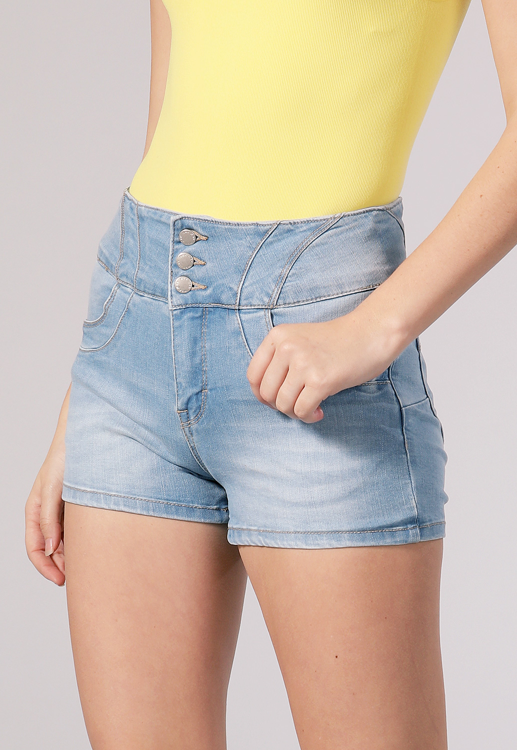 Multi Button Denim Shorts