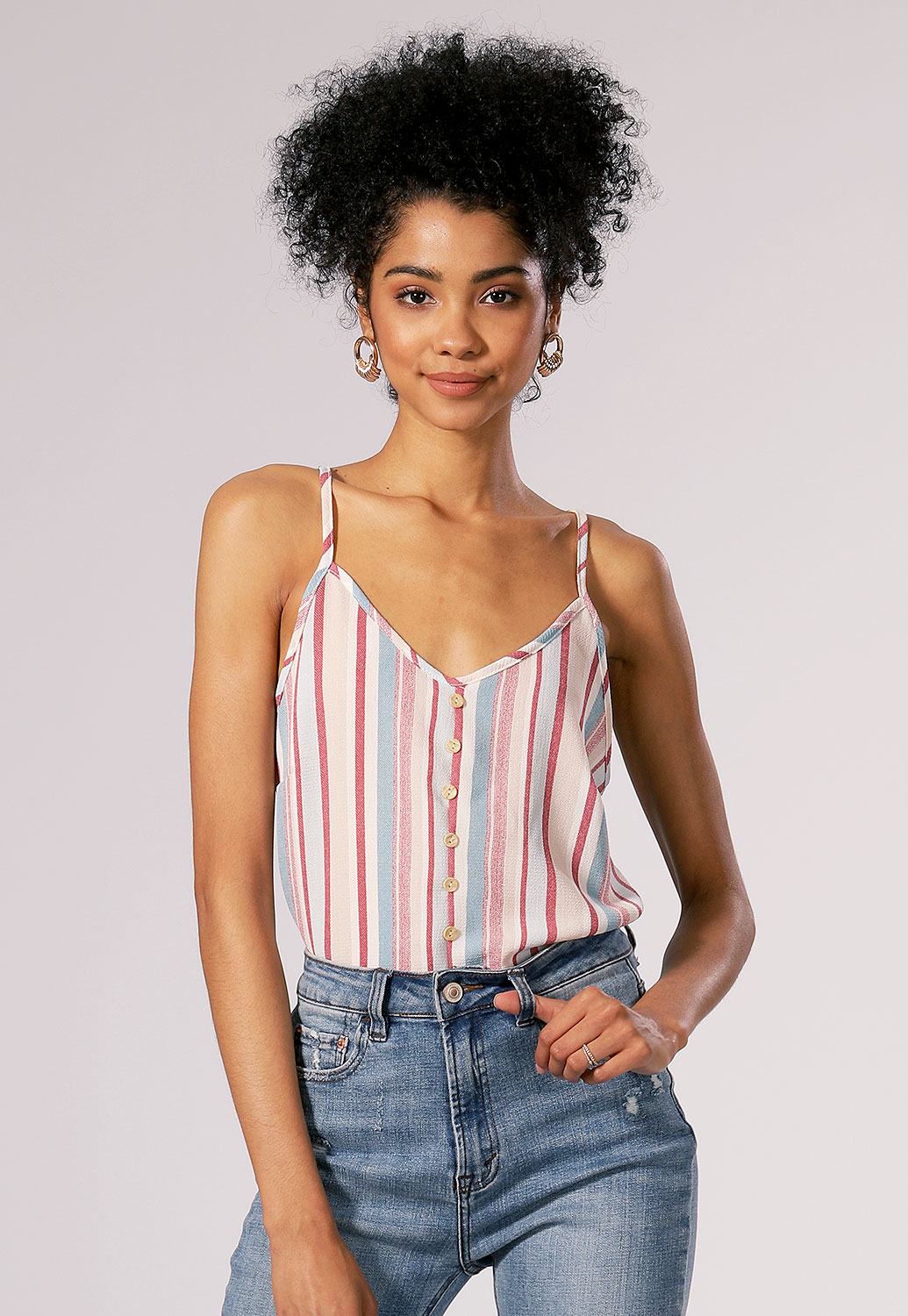 Pinstriped Button Detail Top