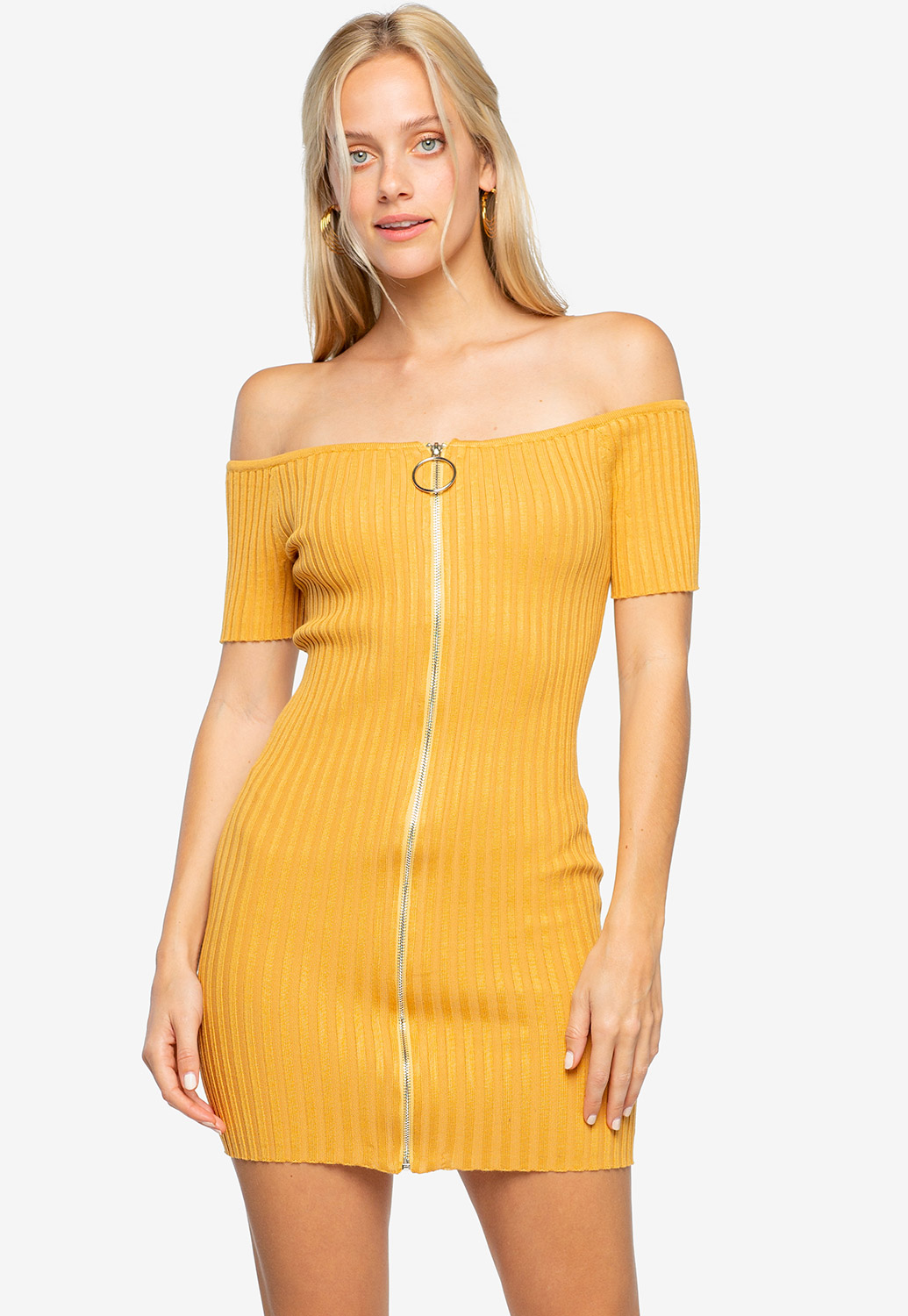 Zip Up Ribbed Mini Dress