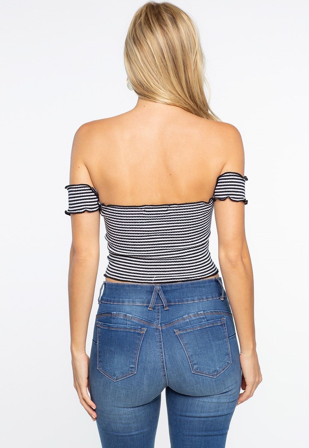 Striped Off The Shoulder Crop-Top