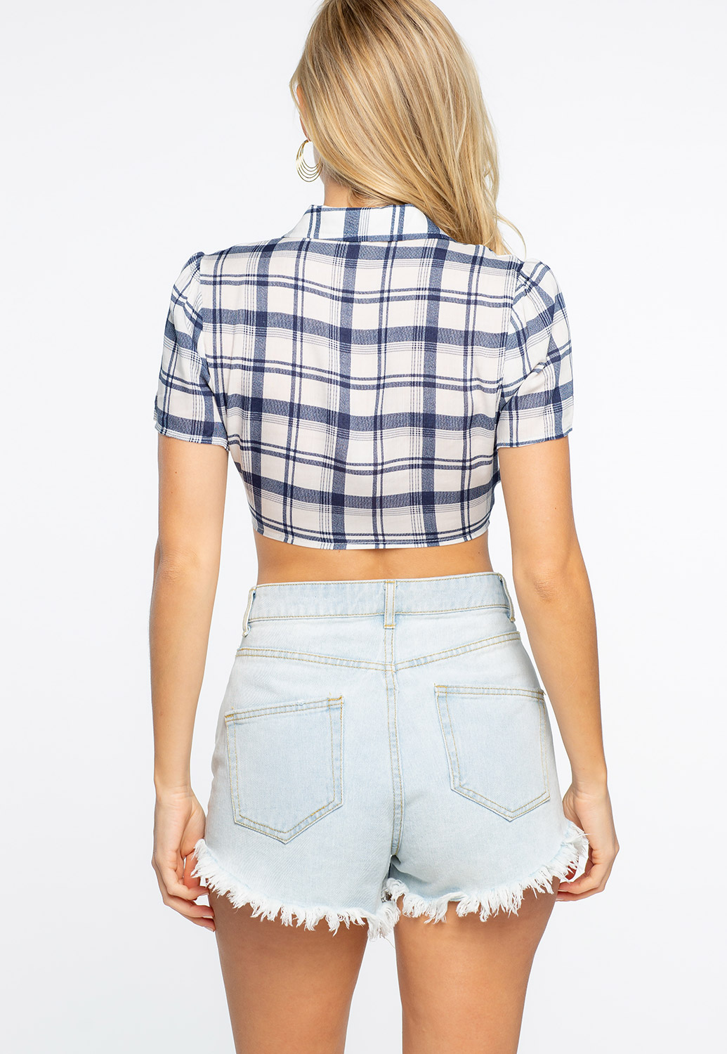 Plaid Tie Front Casual Top