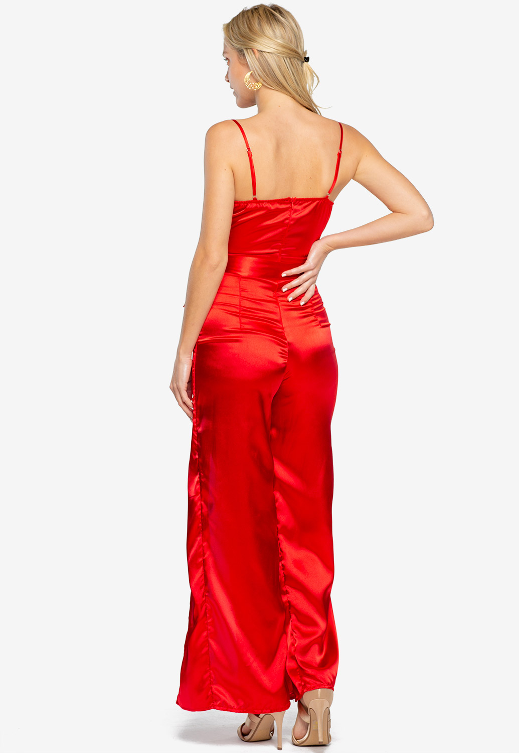 Cowl Neck Leg Open Jumpsuit