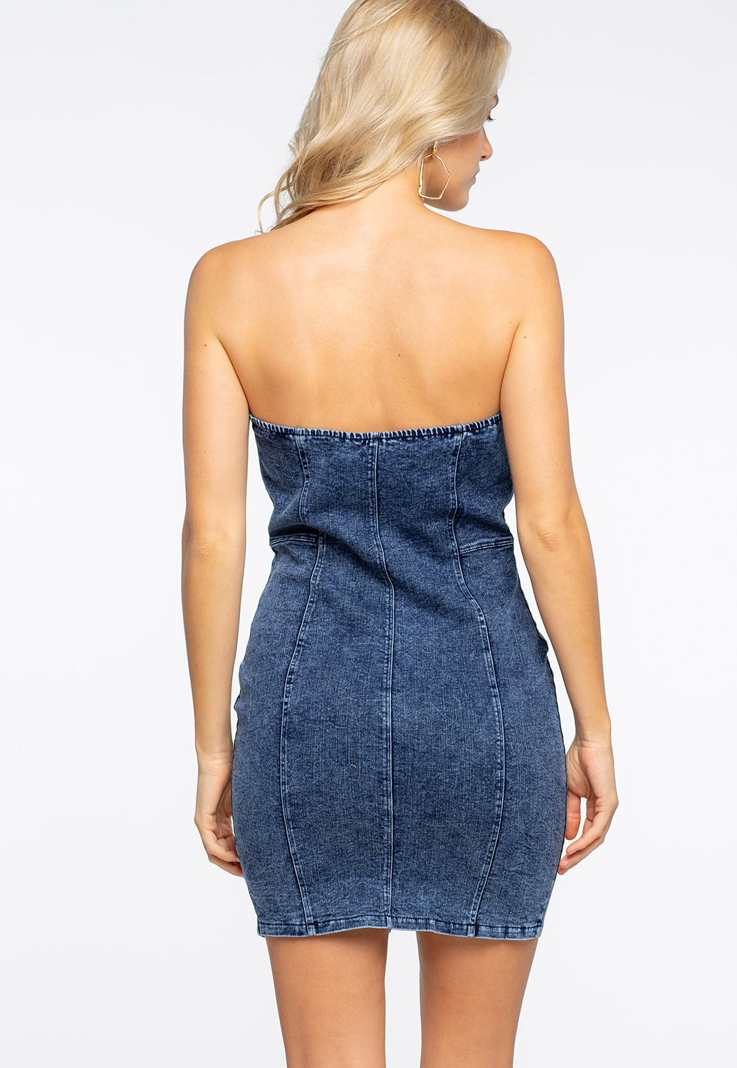Strapless Button Up Denim Mini Dress