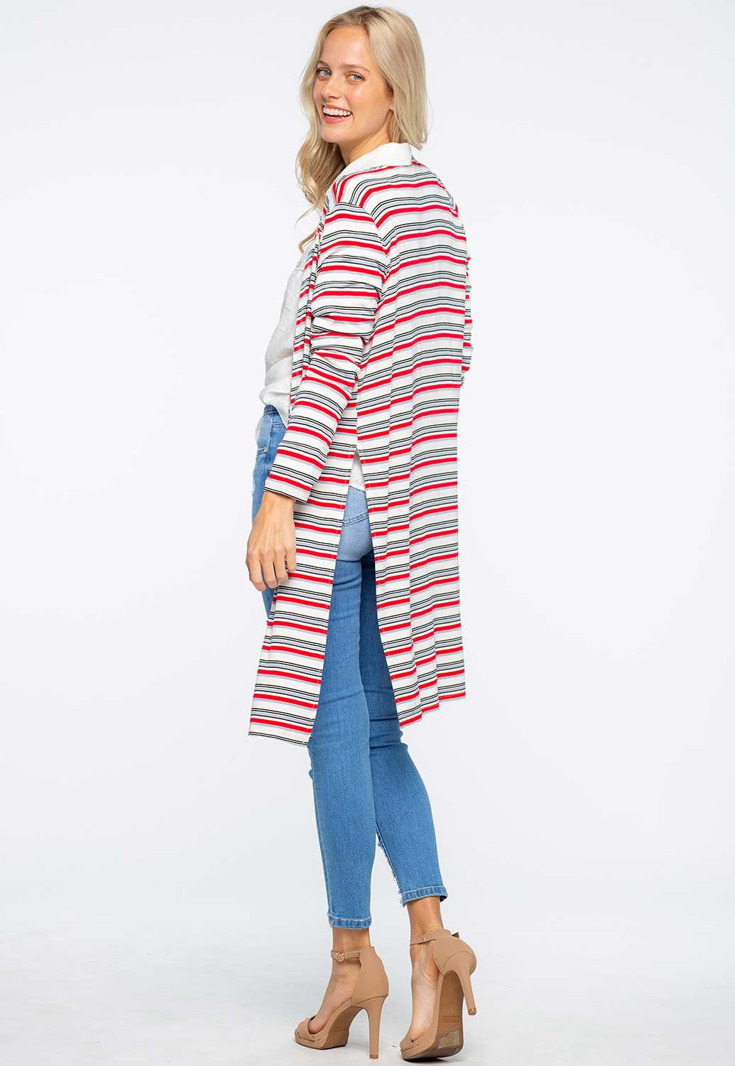 Striped Side Cut-Out Cardigan