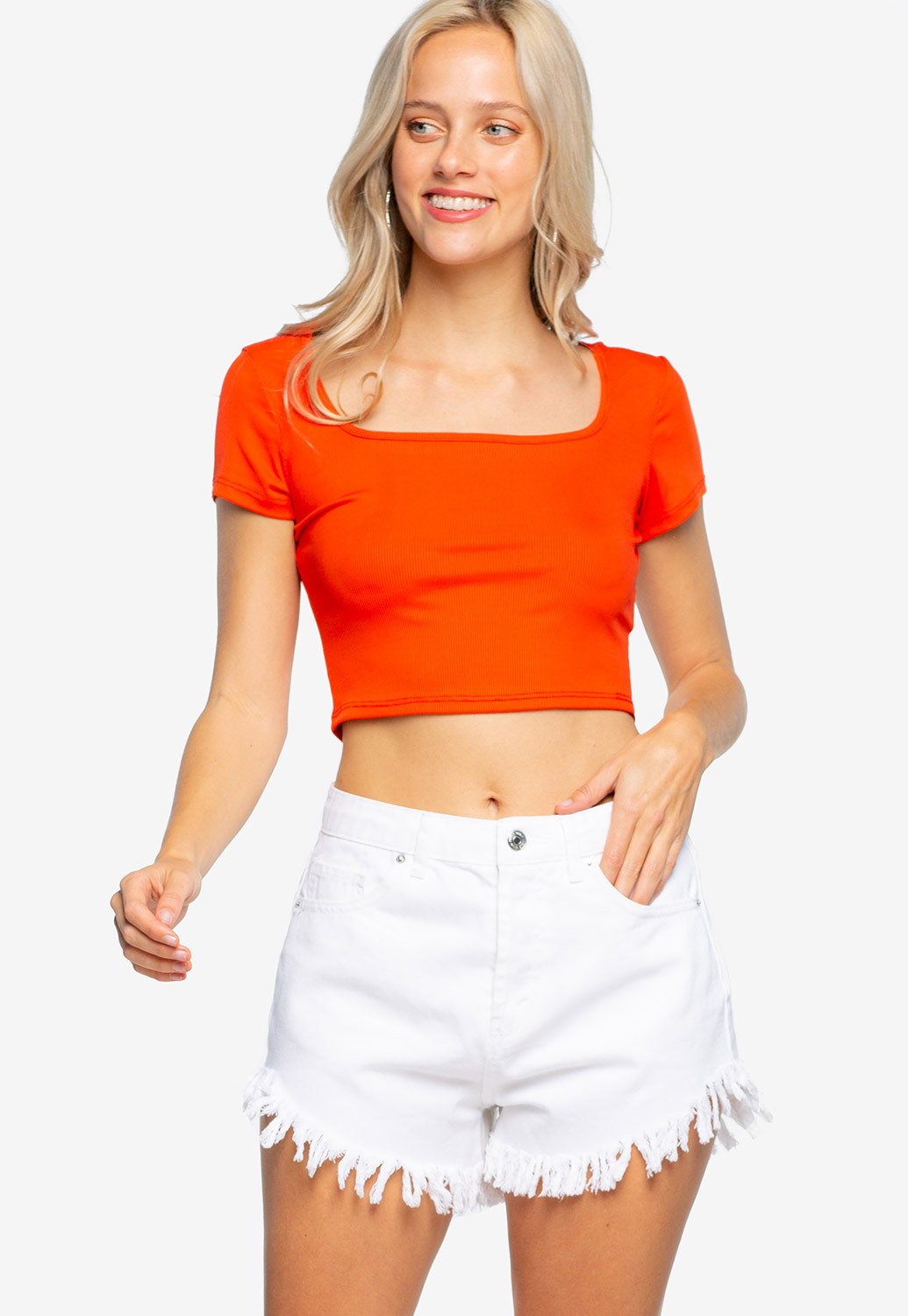 Square Neck Ribbed Crop Top