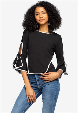 Flare Sleeve Dressy Top