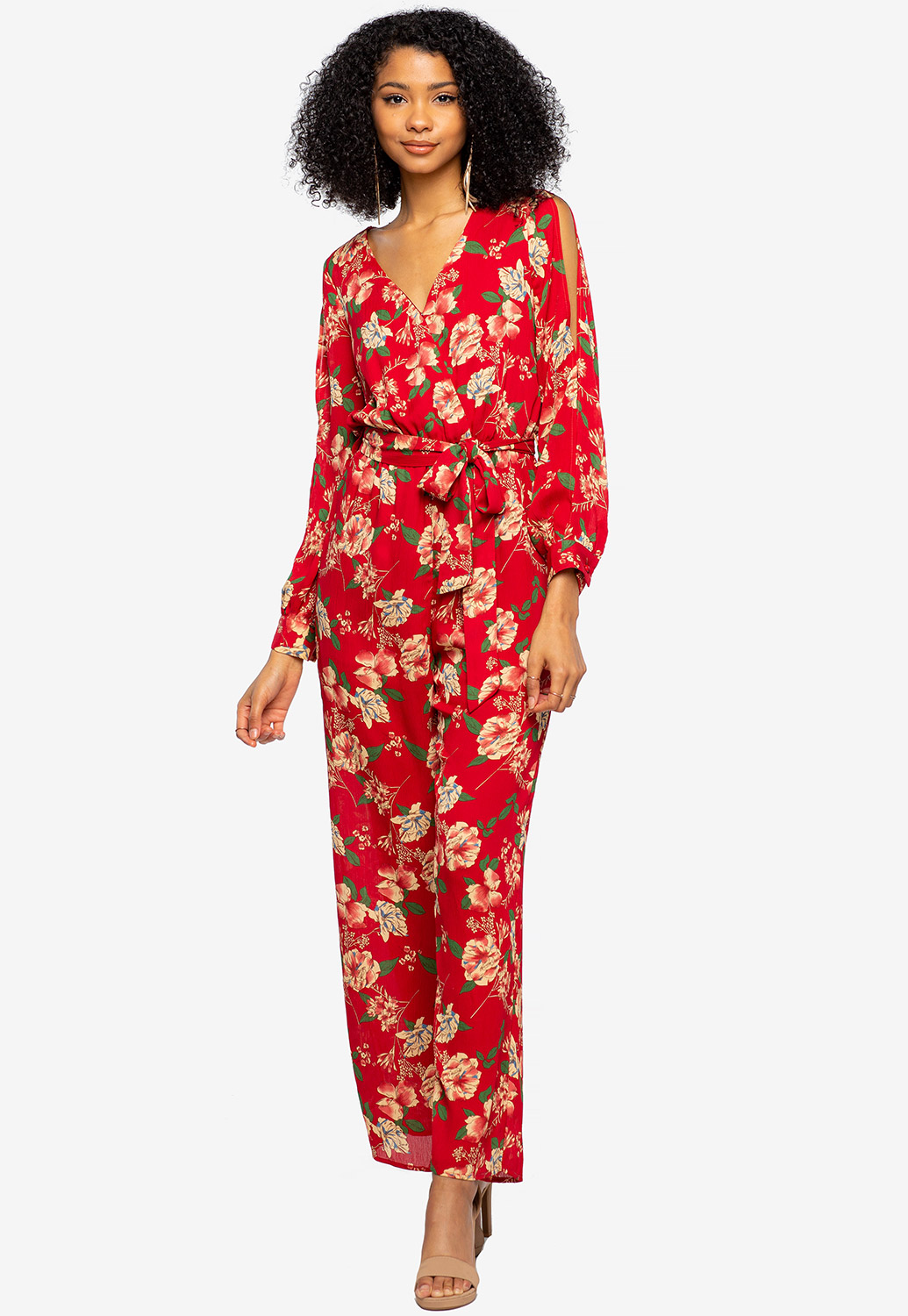 Floral Open Shoulder Jumpsuit