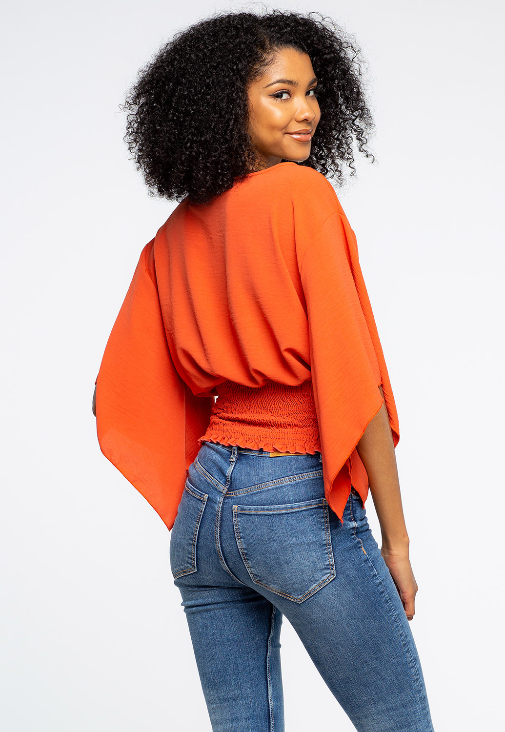 Smocked Flare Sleeve Top