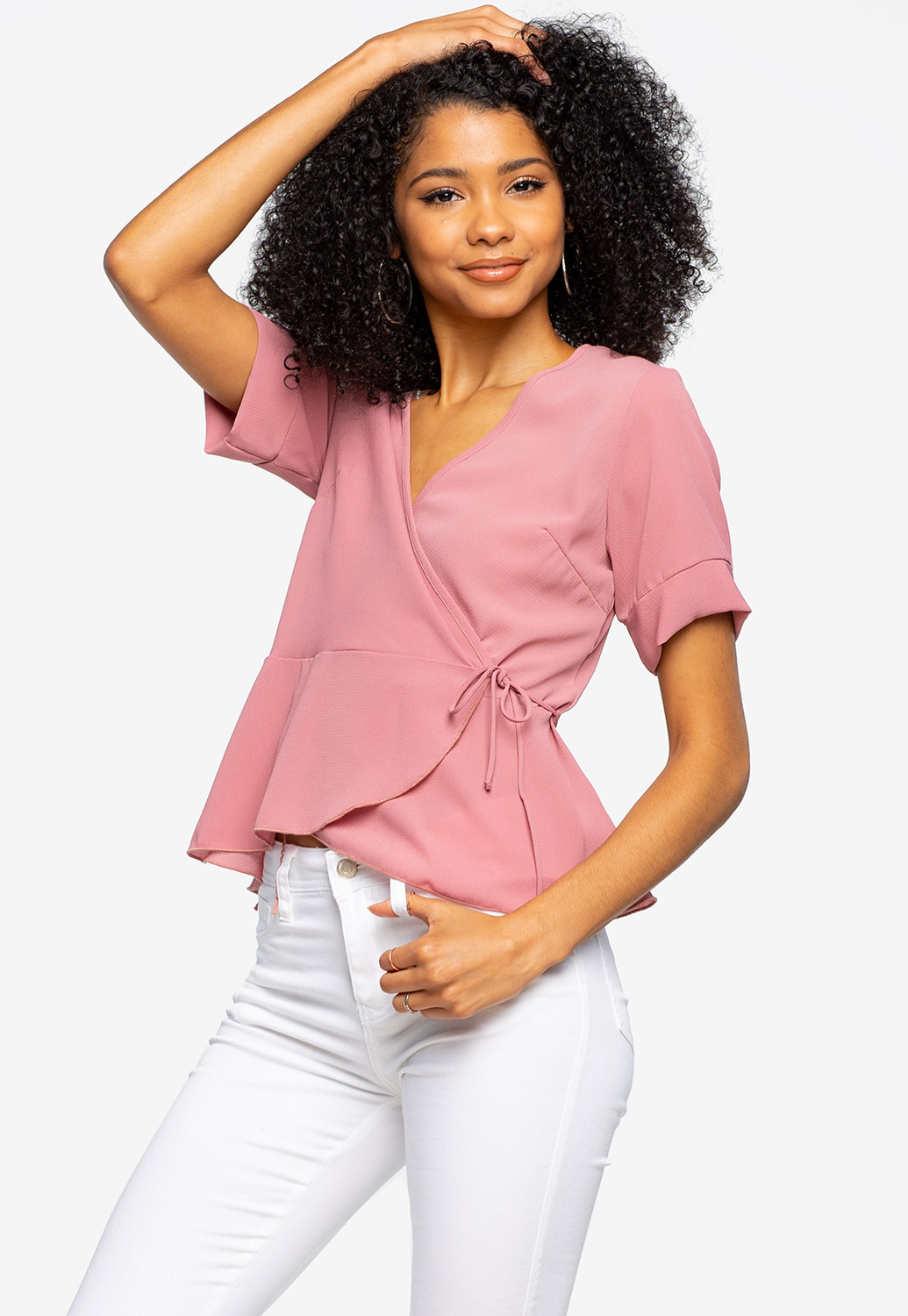 Surplice Flare Trim Top