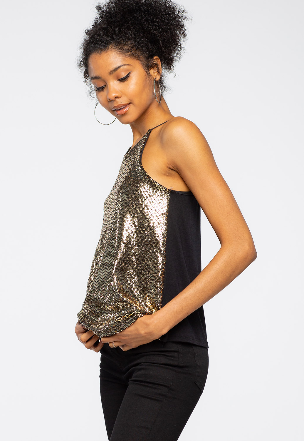 Metallic Strappy Top