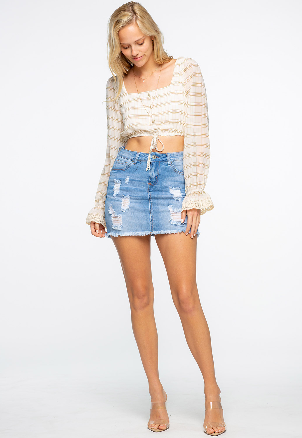 Plaid Sheer Crop Top