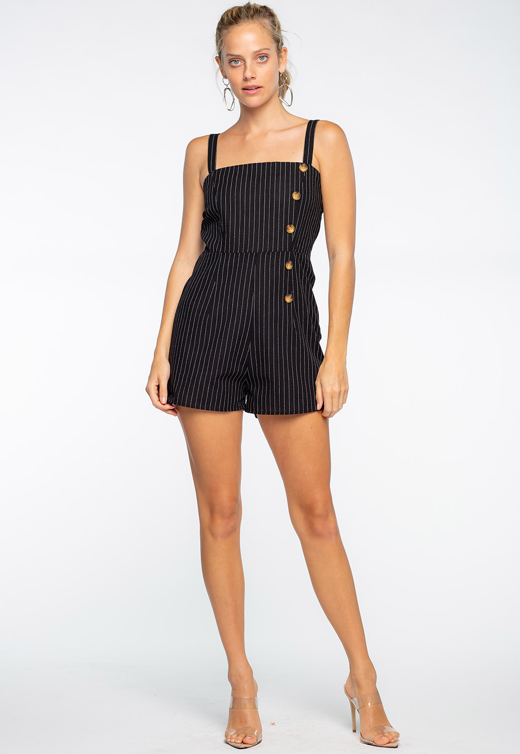 Striped Button Detail Romper