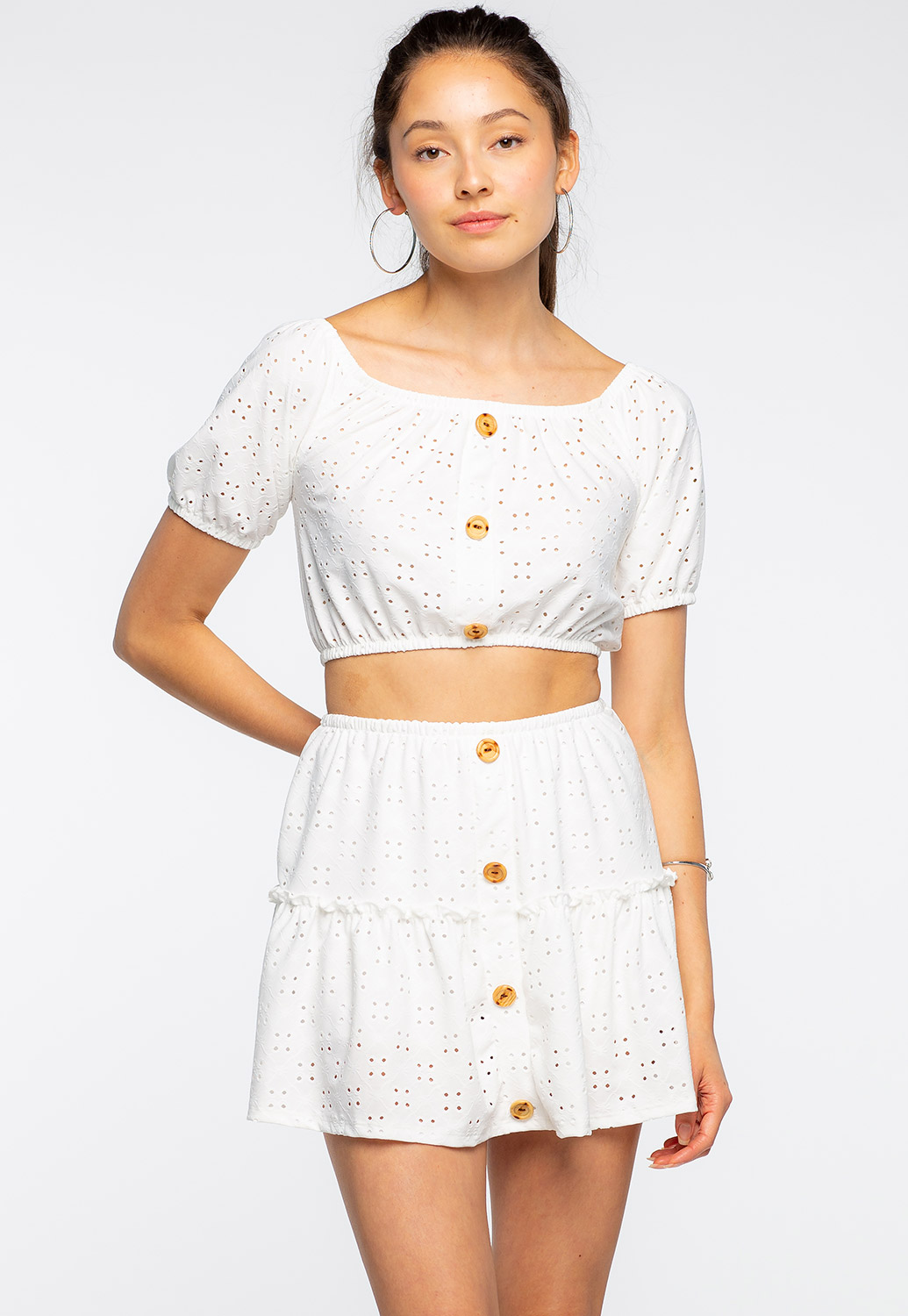 Button Punching Lace Skirt