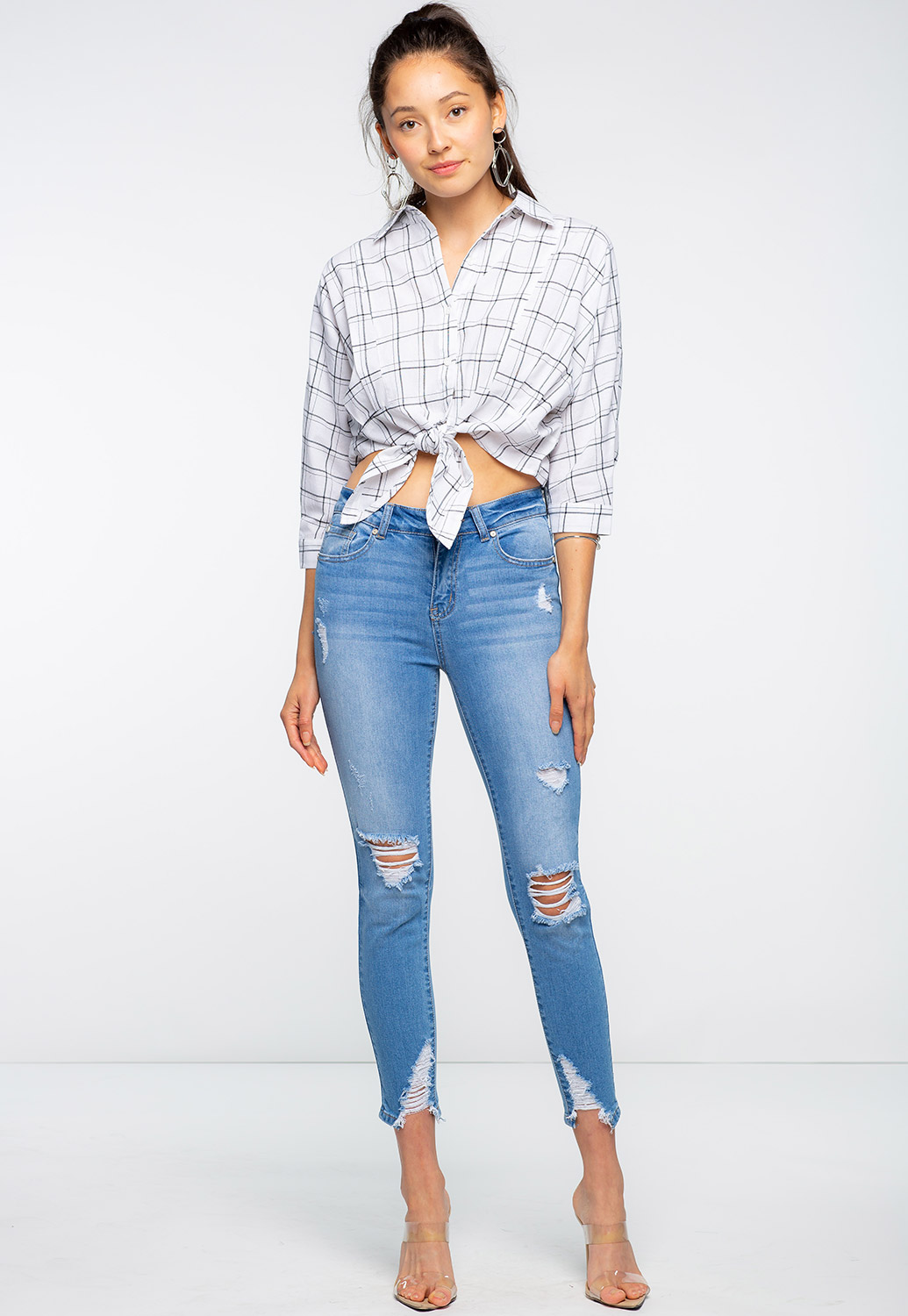 Plaidl Printed Dressy Front Tie Top
