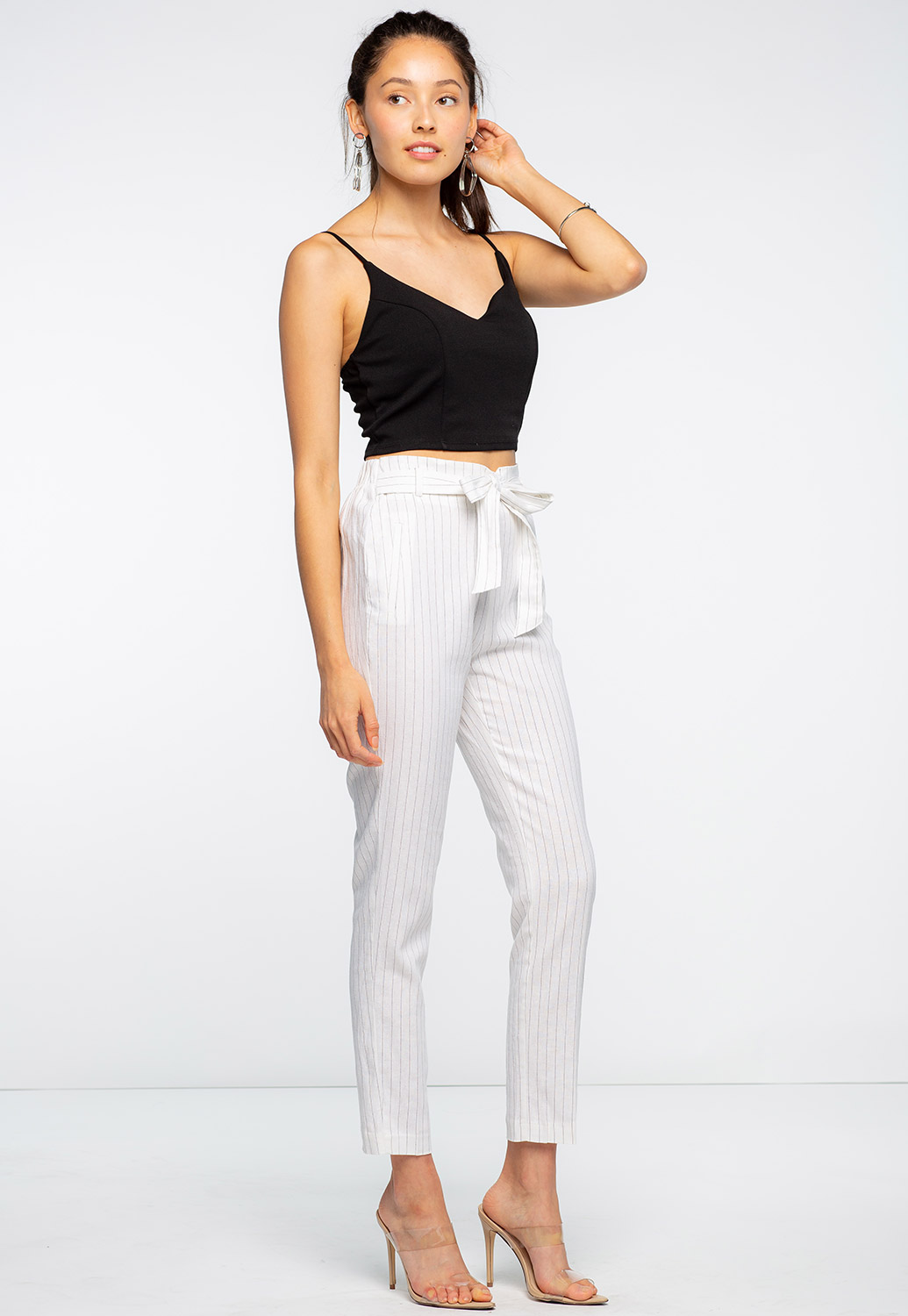 Striped Front Tie Pants