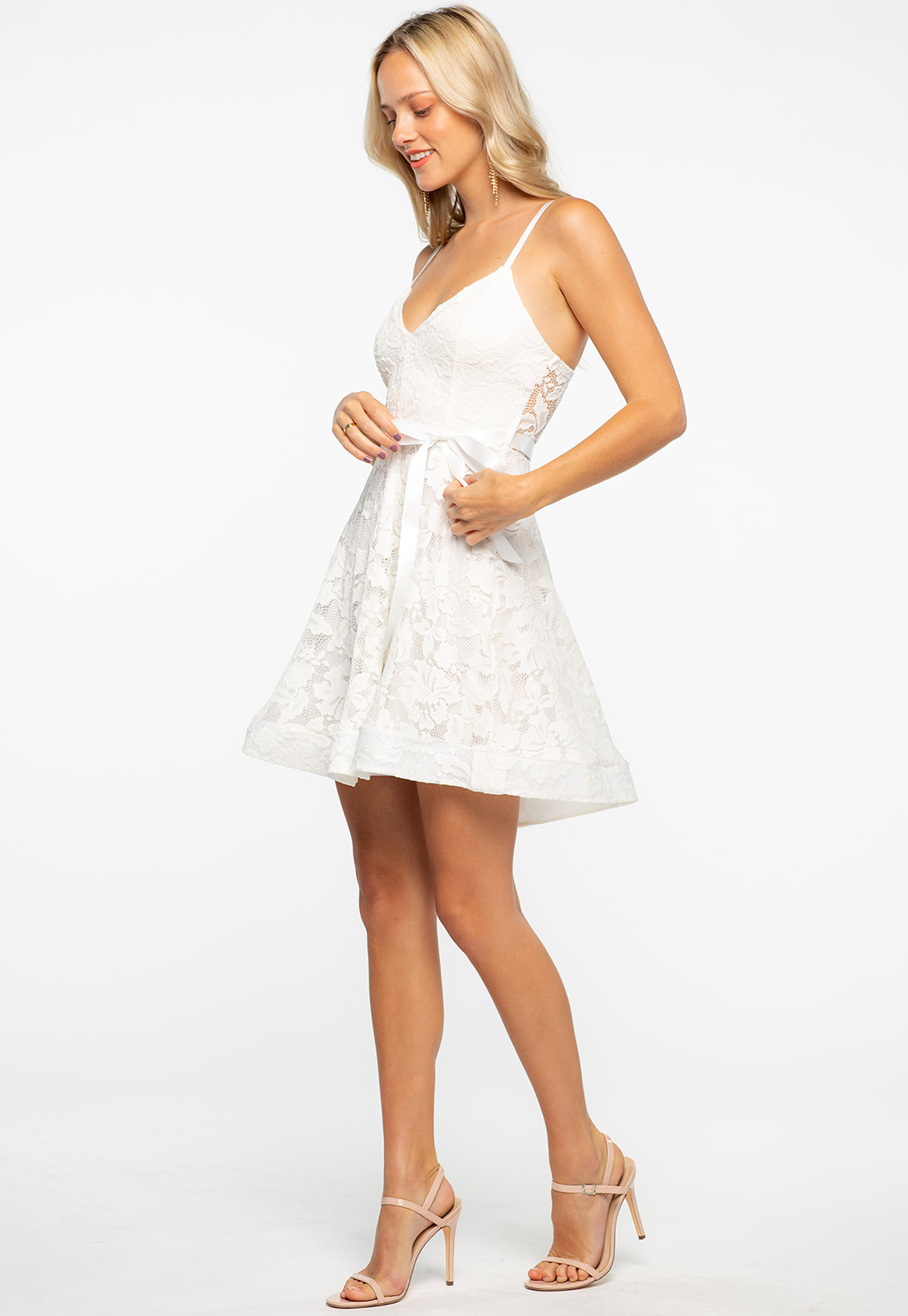 Floral Lace Overlay Fit And Flare Dress