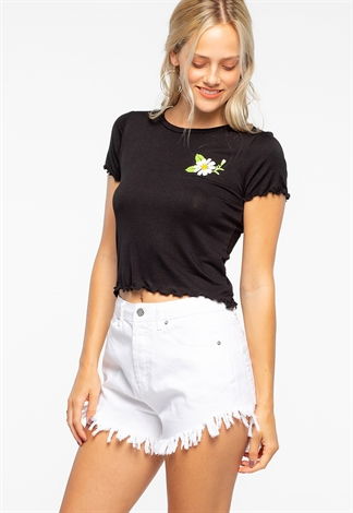 Flower Printing Semi-Crop Top