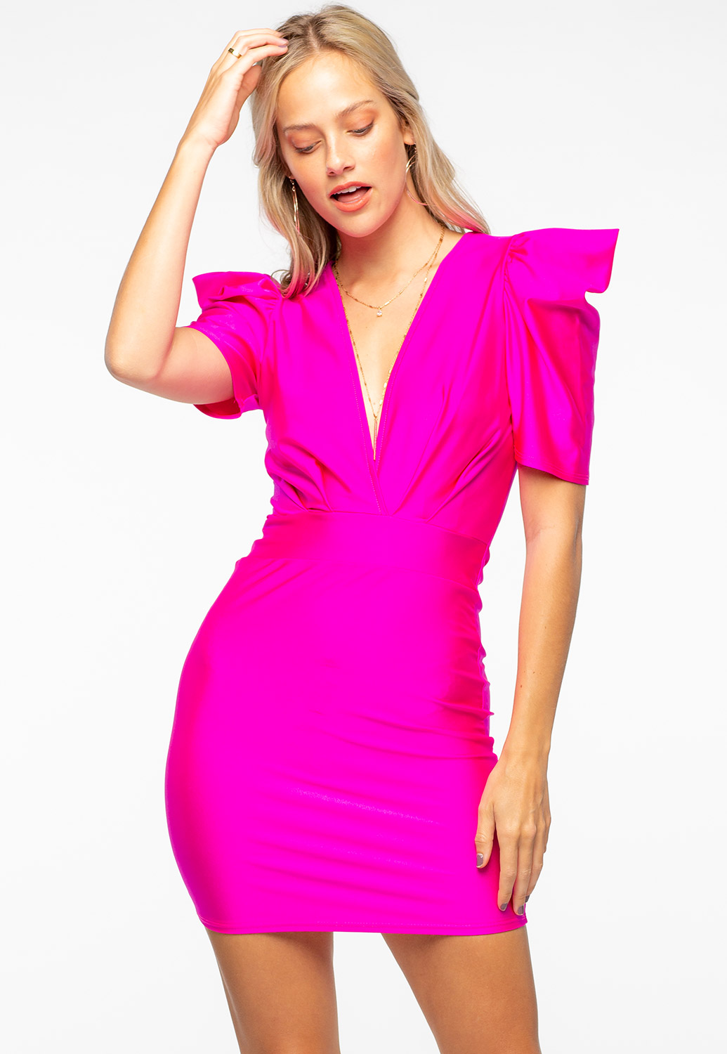 Ruffled V-Neck Bodycon Dress