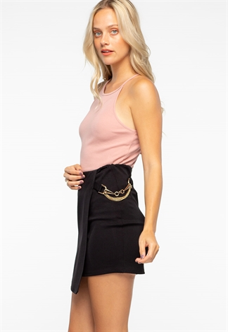Chain Detail Bodycon Mini Skirt