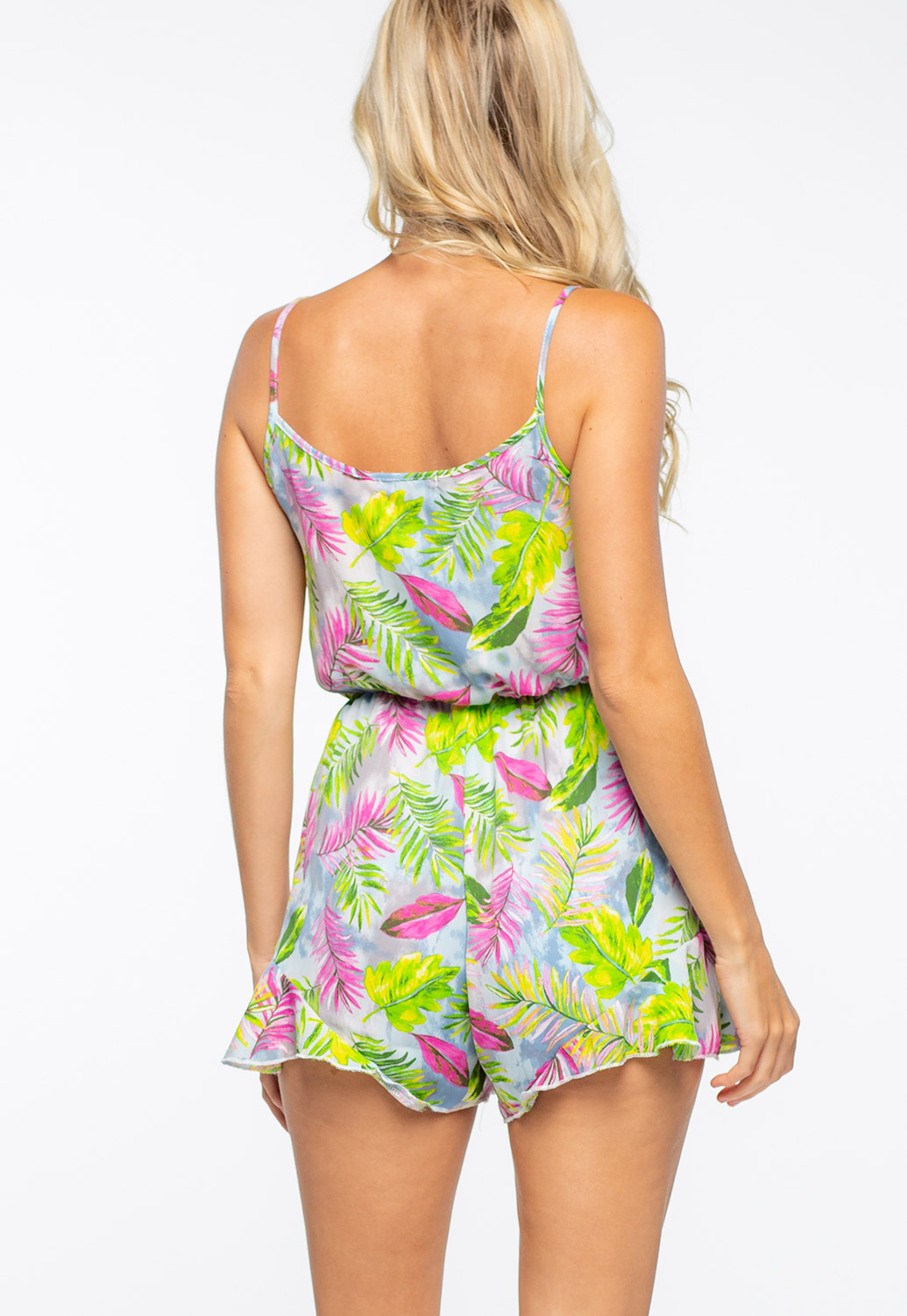 Front Tie Tropical Printed Romper