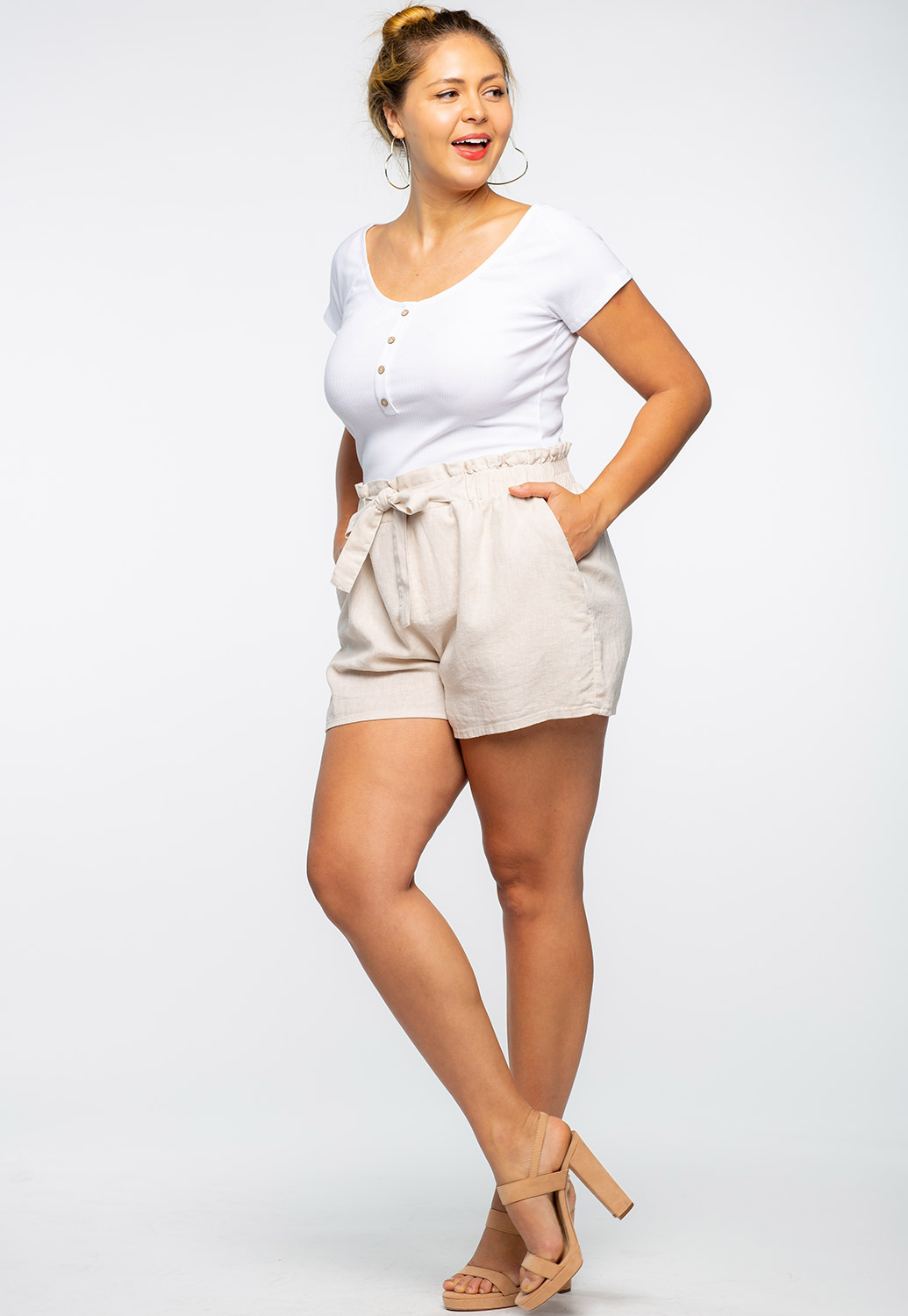 Tie Front Casual Shorts
