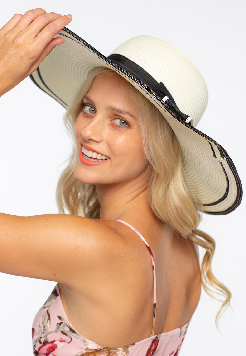 Summer Straw Hat With Ribbon