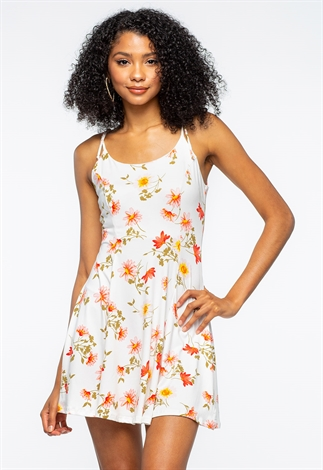 Floral Tie Shoulder Mini Dress