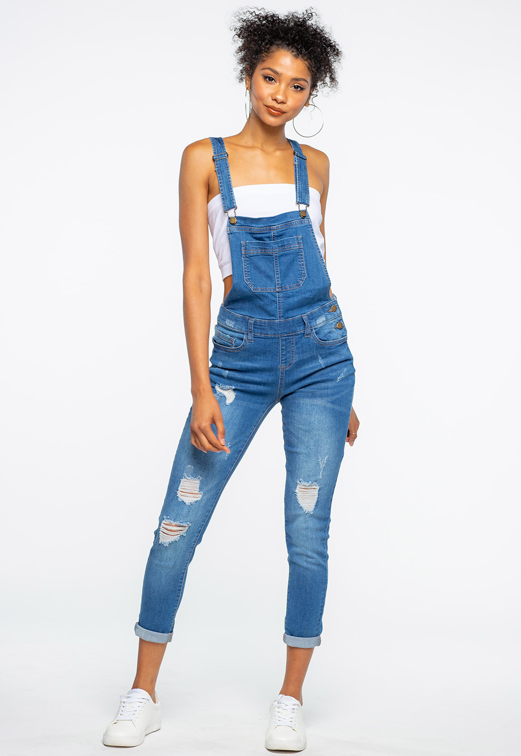 Distress Denim Overalls