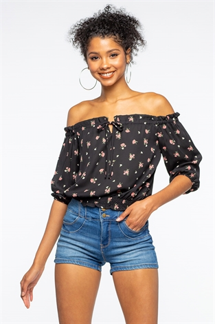 Floral Off The Shoulder Front Tie Top
