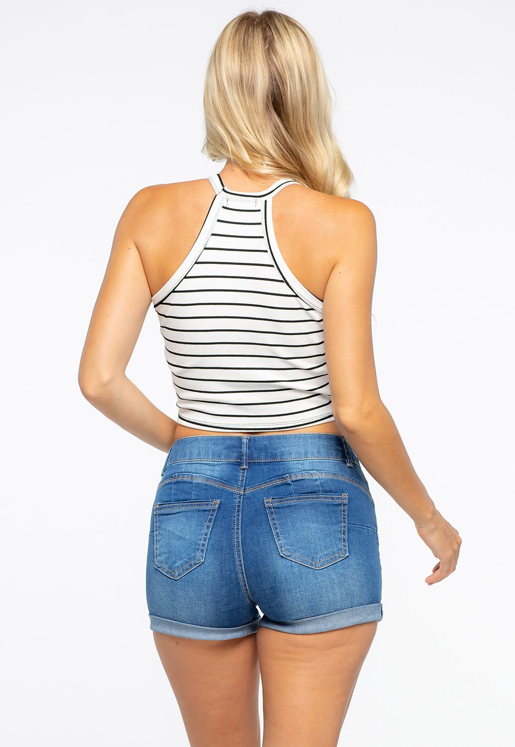 Stripe Cropped Halter Crop Top