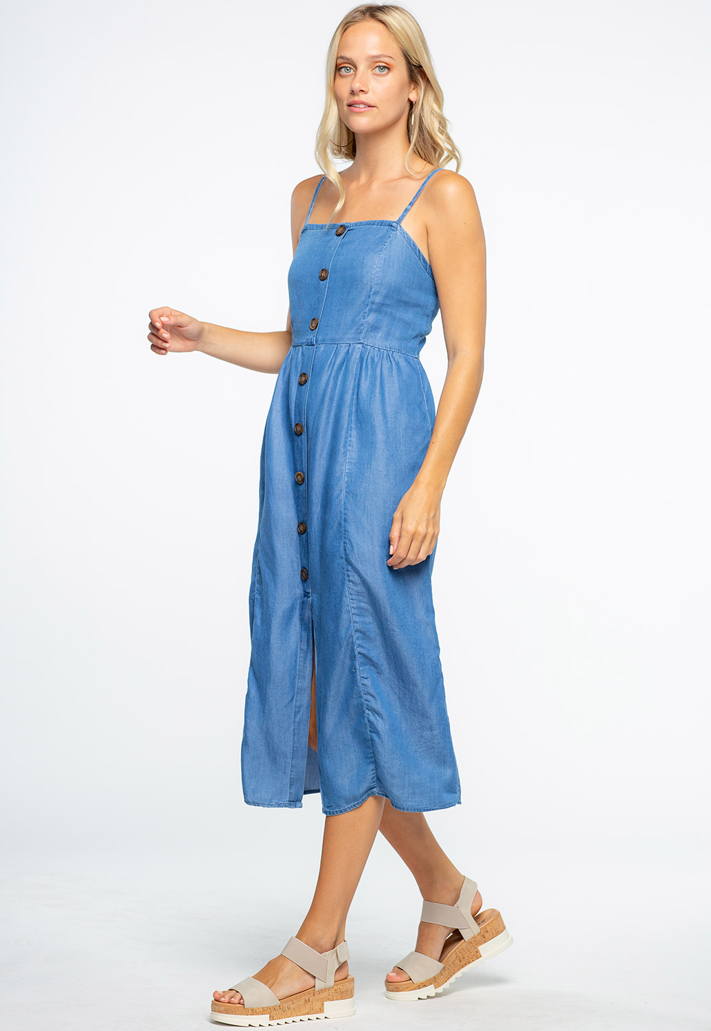 Button Detailed Denim Blue Midi Dress
