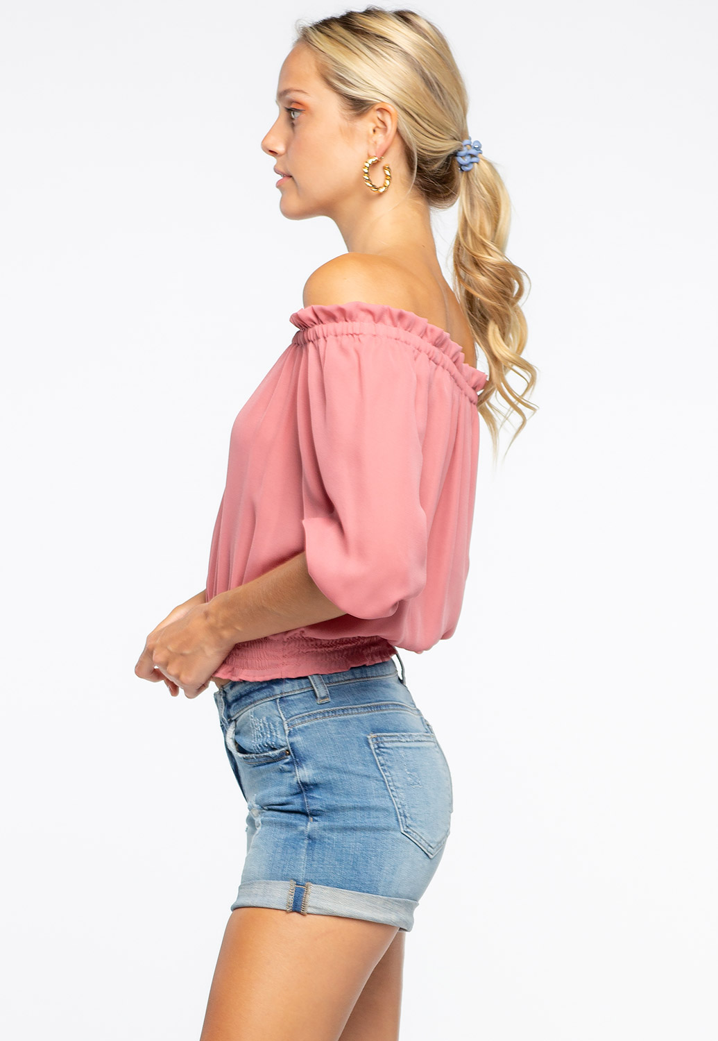 Solid Color Off The Shoulder Ruffle Detailed Top