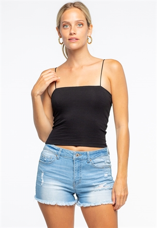Solid Color Spaghetti Strap Crop Top