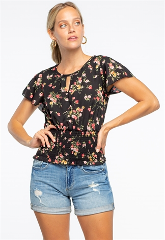 Floral Printed Ruffled Blouse With Tie Back