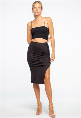 Black Drawstring Side Ruched Midi Skirt
