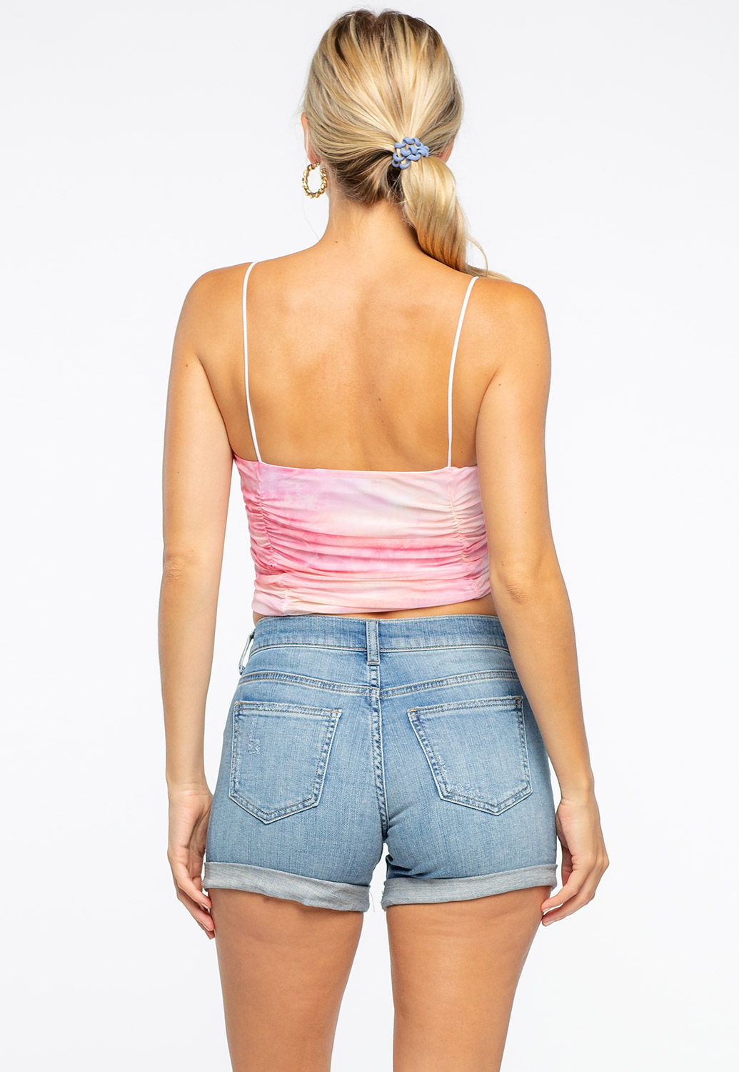 Watercolor Inspired Mesh Sheer Ruched Top