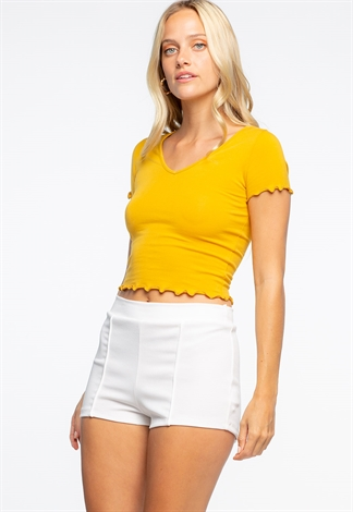 Solid Color Elastic Waistband Summer Shorts