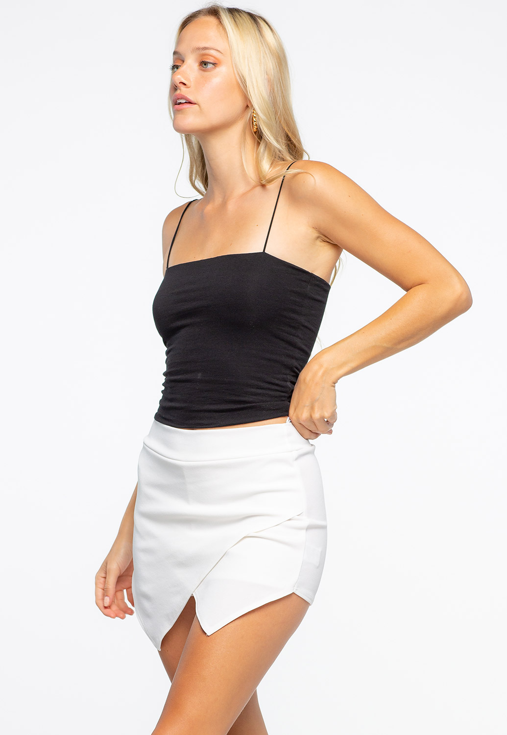 Wrap-Front Solid Color Basic Shorts