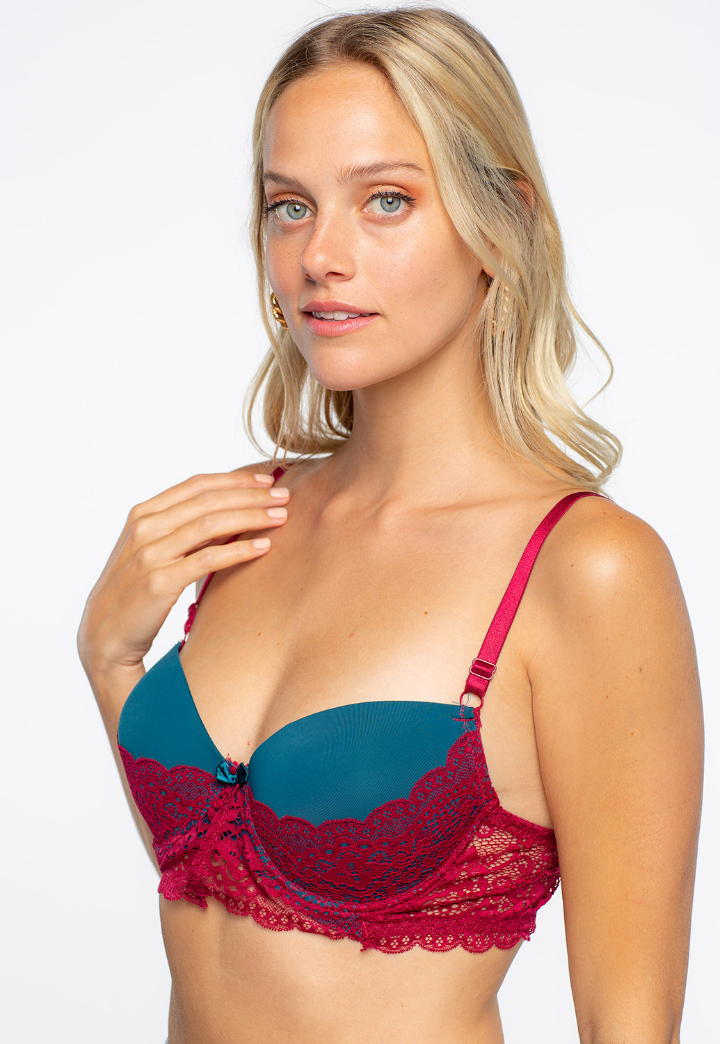 Burgundy Lace Trim Bra