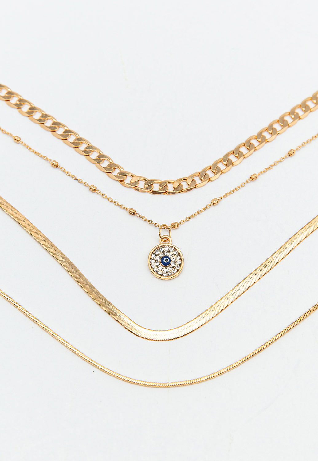 Multi-Layered Gold Chain Necklace With Charm