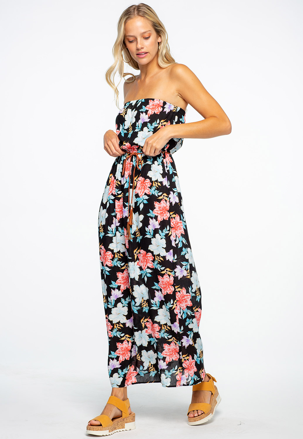 Off The Shoulder Floral Printed Maxi Dress With Belt