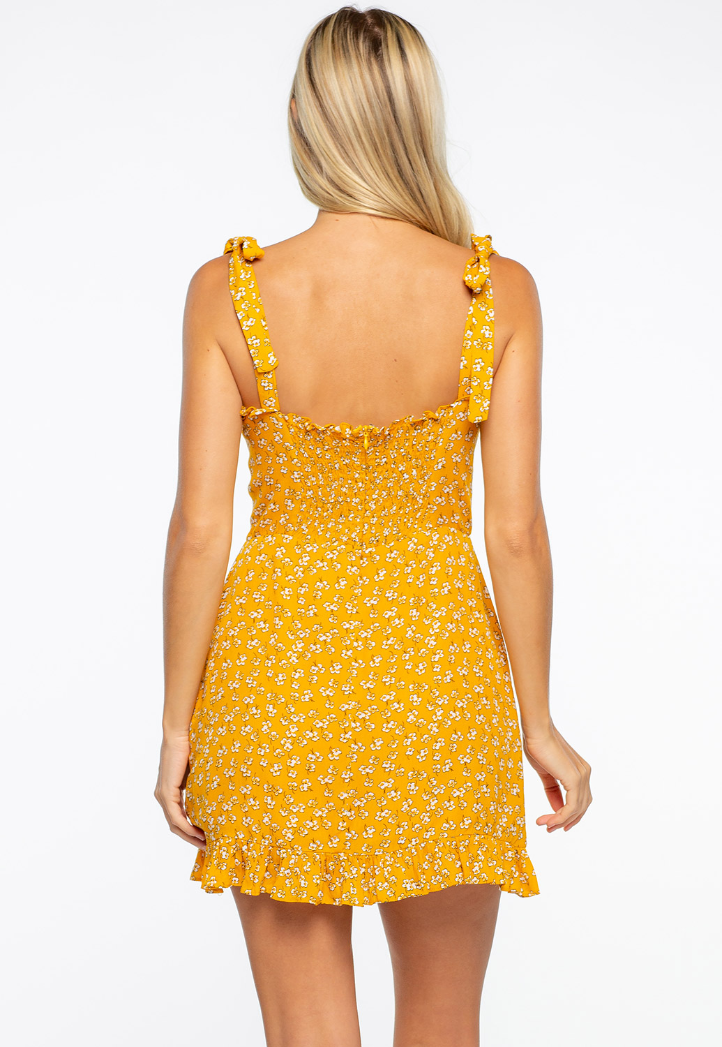Mustard Floral Shoulder Tie Mini Ruffle Dress