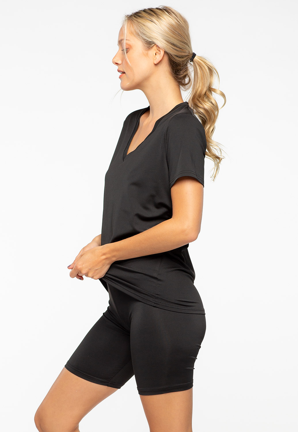 Basic V-Neck Matching Activewear Set