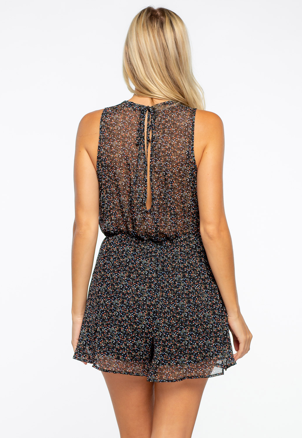 Deep V-Neck Line Floral Printed Romper With Back Tie